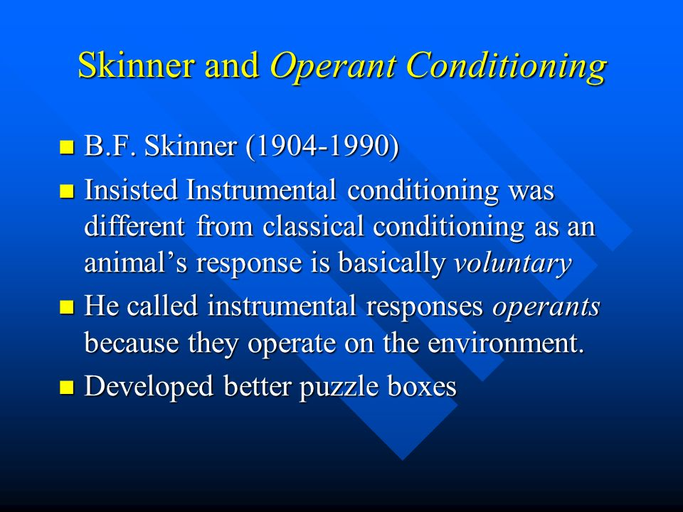 instrumental operant conditioning Operant conditioning (also known as instrumental conditioning) is a process by which humans and animals learn to behave in such a way as to obtain rewards and avoid punishments it is also the name for the paradigm in experimental psychology by which such learning and action selection processes are studied.