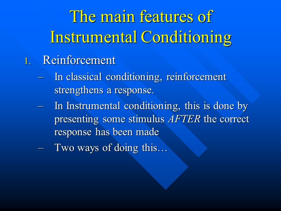 The main features of Instrumental Conditioning
