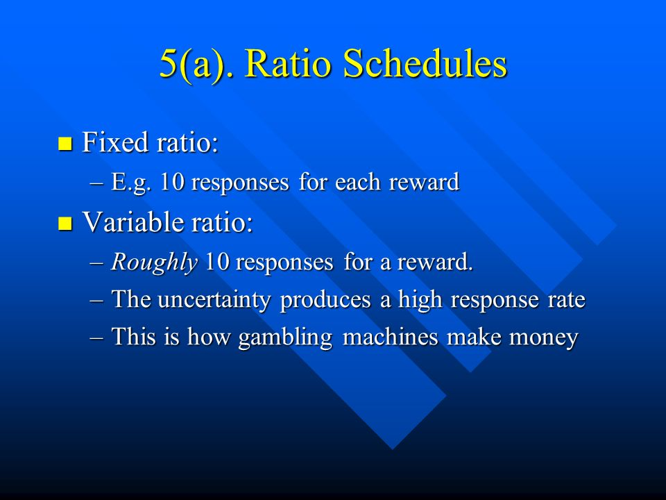 5(a). Ratio Schedules Fixed ratio: Variable ratio: