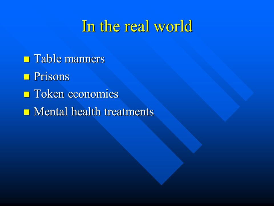 In the real world Table manners Prisons Token economies