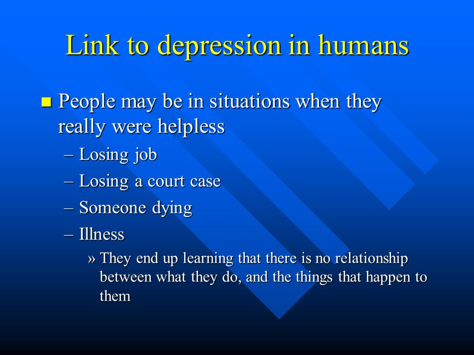 Link to depression in humans