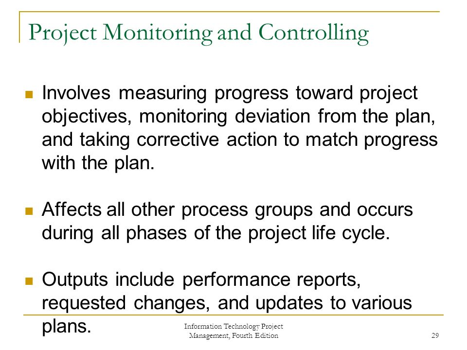 project planning monitoring and controlling A process is a series of actions directed toward a particular result project management process groups progress from initiating activities to planning activities, executing activities, monitoring and controlling activities,.
