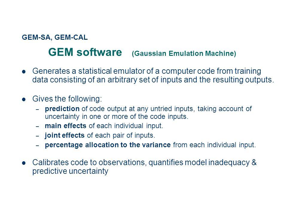 GEM software (Gaussian Emulation Machine)