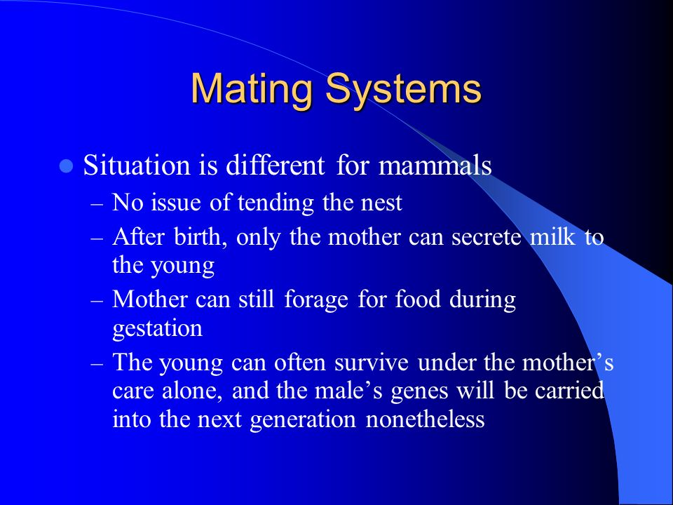Mating Systems Situation is different for mammals