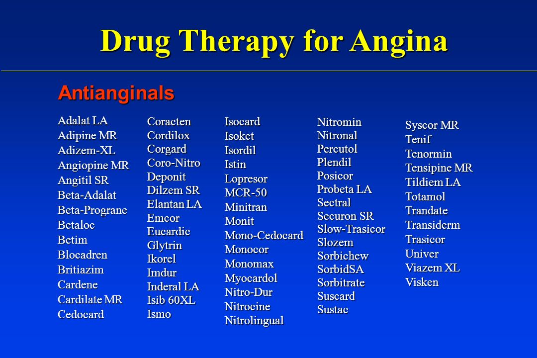 Drug Therapy for Angina