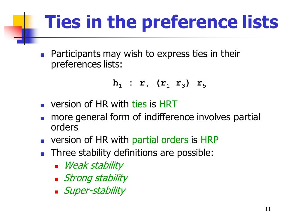 Ties in the preference lists