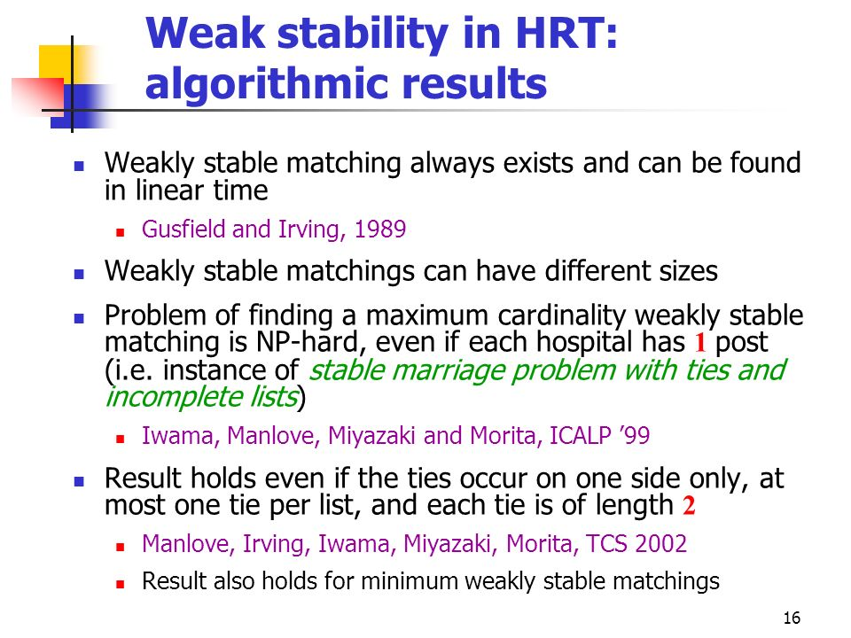 Weak stability in HRT: algorithmic results
