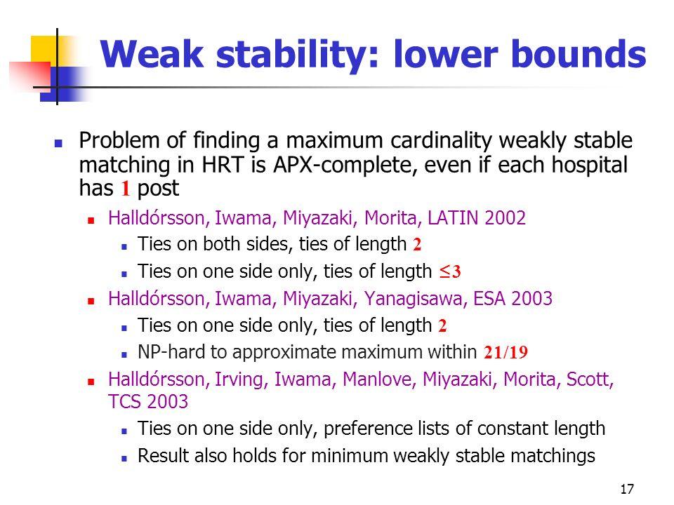 Weak stability: lower bounds