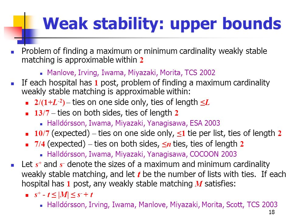 Weak stability: upper bounds