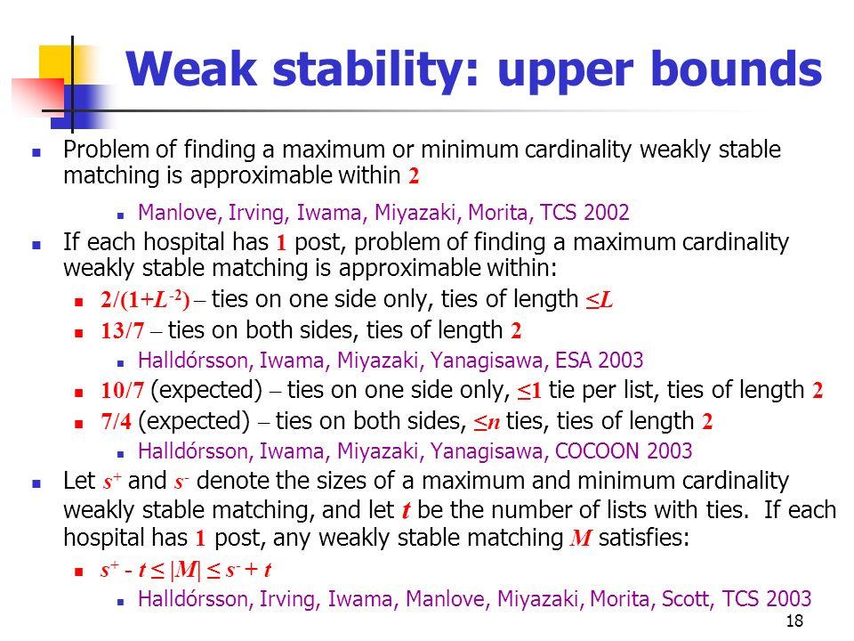 Weak stability: upper bounds