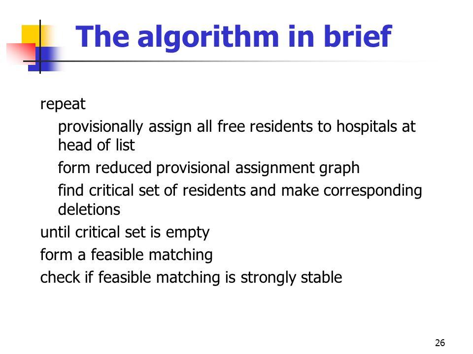 The algorithm in brief repeat