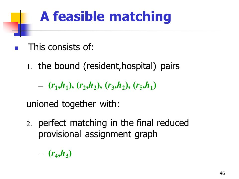 A feasible matching This consists of: