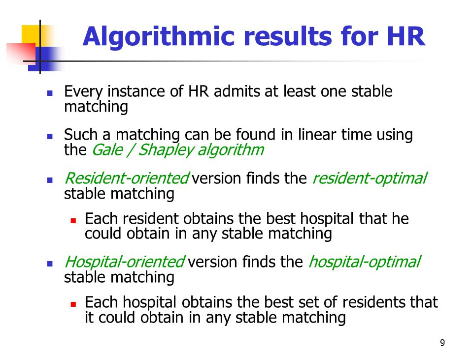 Algorithmic results for HR