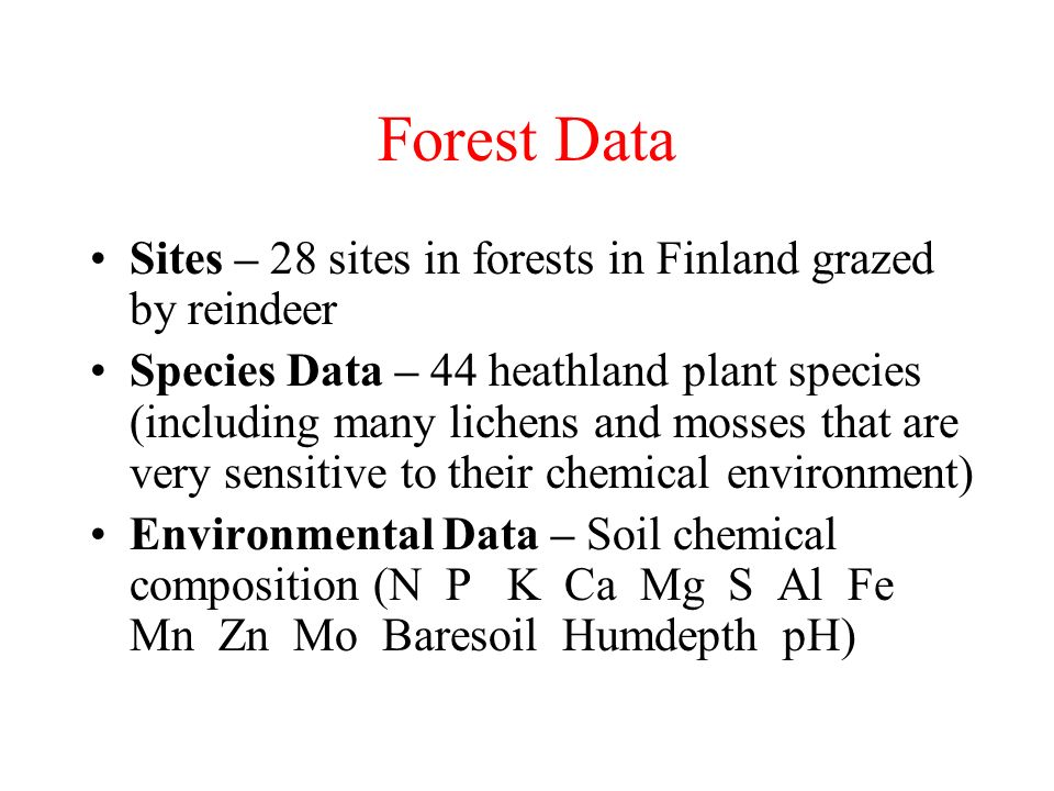 Forest Data Sites – 28 sites in forests in Finland grazed by reindeer