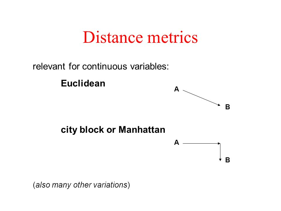 Distance metrics relevant for continuous variables:
