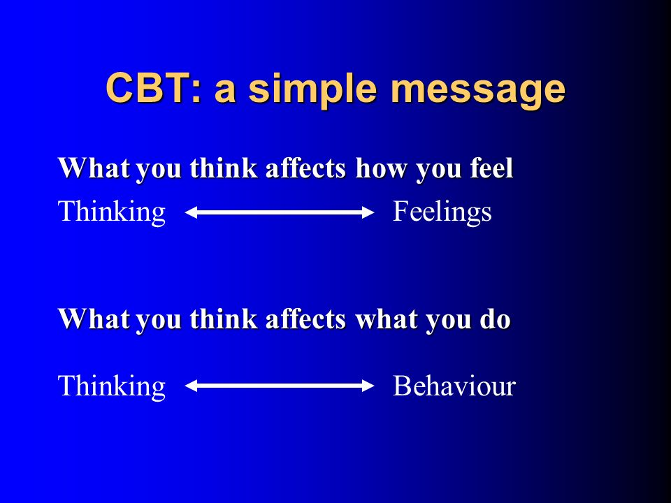 CBT: a simple message What you think affects how you feel
