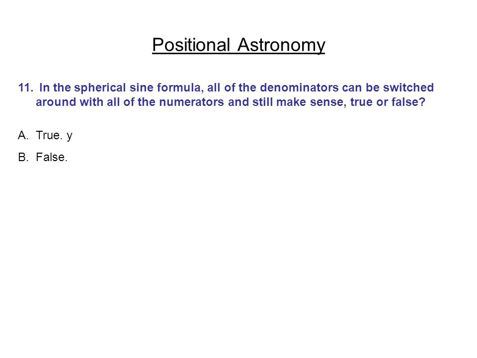 Positional Astronomy
