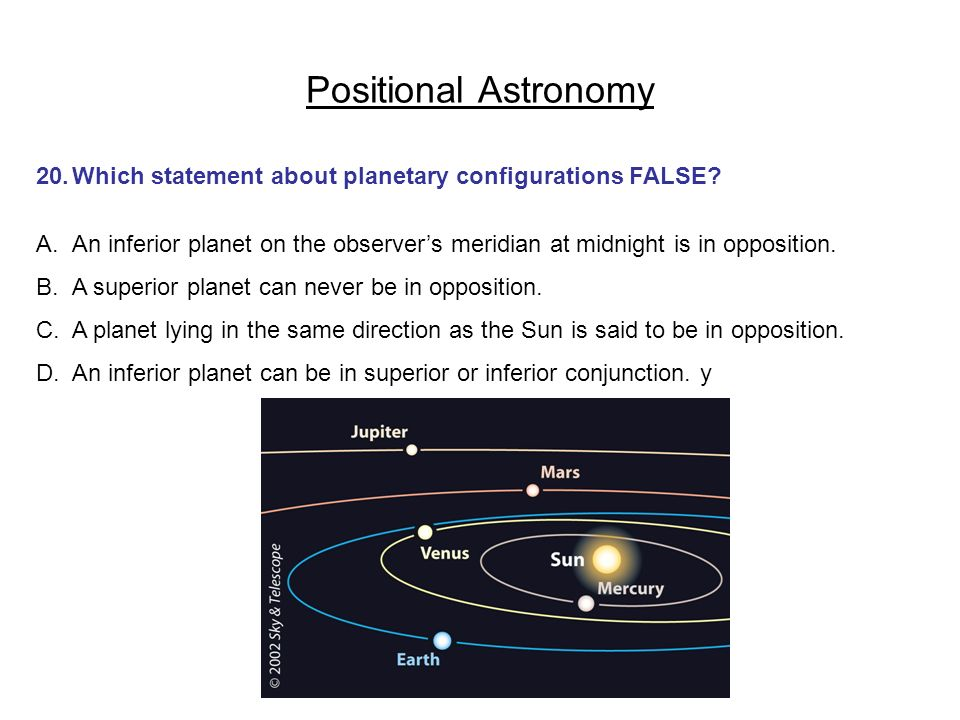 Positional Astronomy 20. Which statement about planetary configurations FALSE