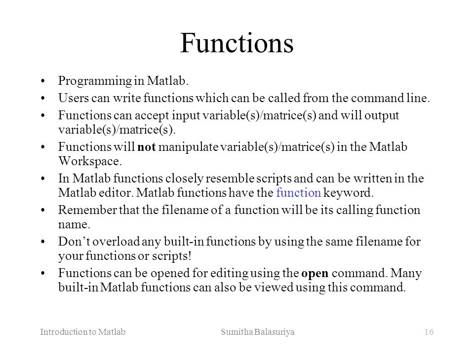 Functions Programming in Matlab.