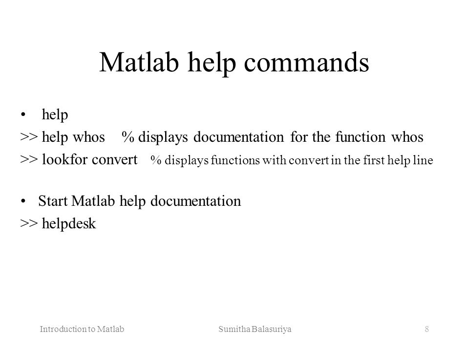 Matlab help commands help