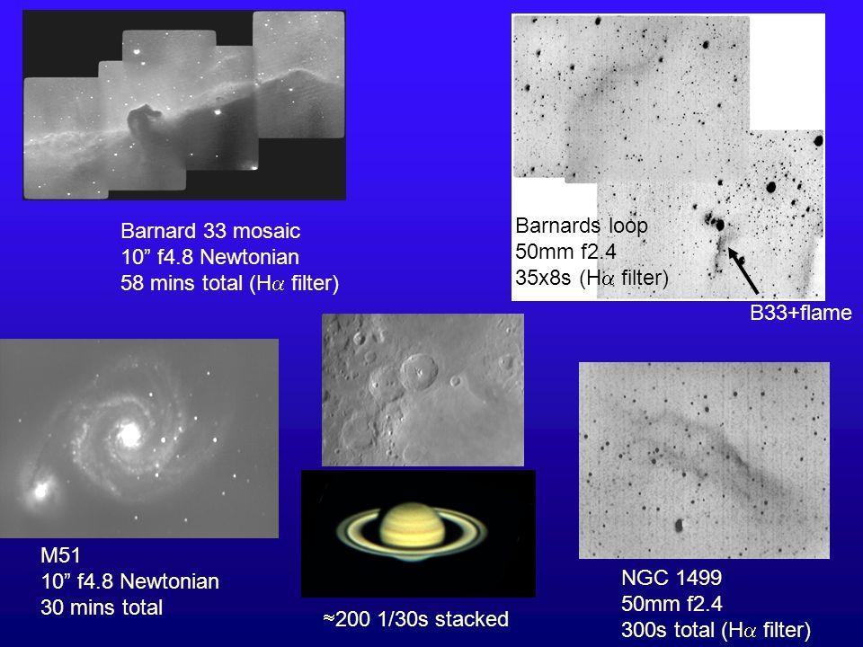 Barnard 33 mosaic 10 f4.8 Newtonian. 58 mins total (H filter) Barnards loop. 50mm f2.4. 35x8s (H filter)