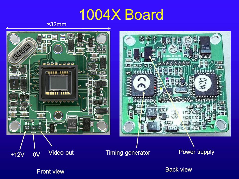 1004X Board 32mm Video out Timing generator Power supply +12V 0V