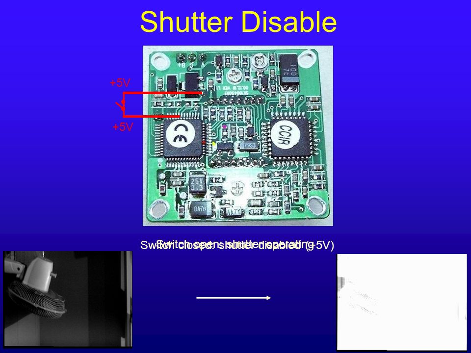 Shutter Disable +5V +5V Switch closed: shutter disabled (+5V)