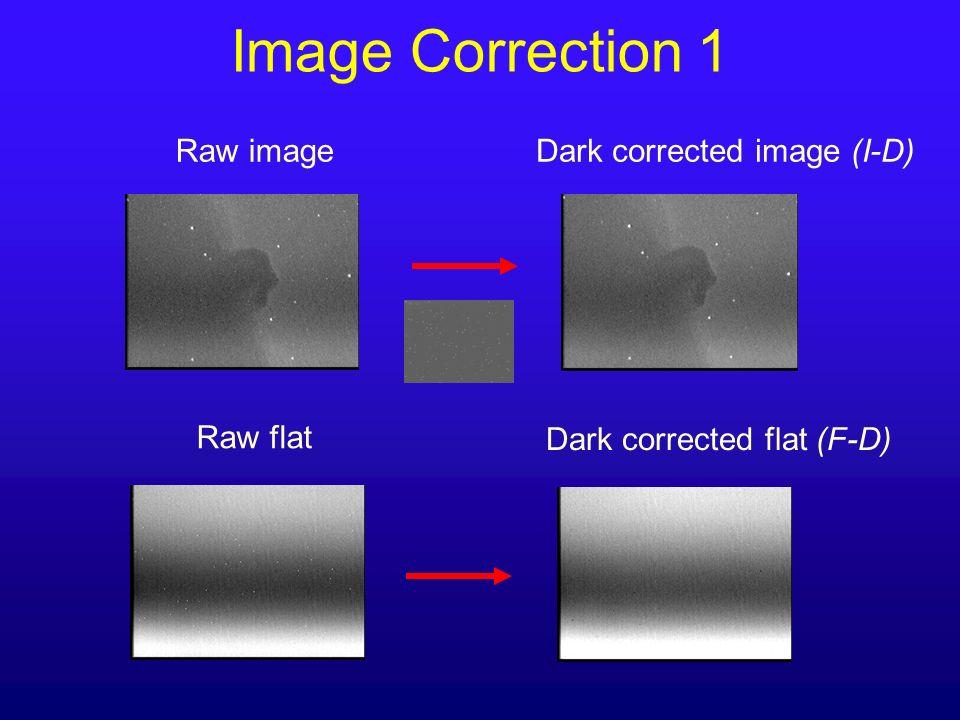 Image Correction 1 Raw image Dark corrected image (I-D) Raw flat