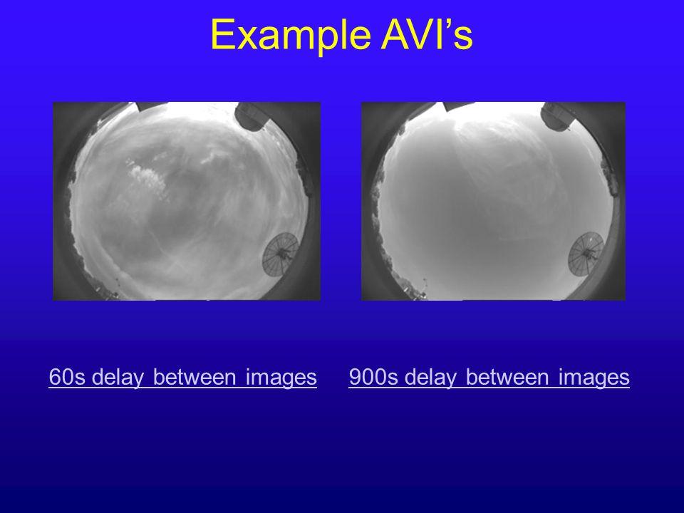 Example AVI's 60s delay between images 900s delay between images