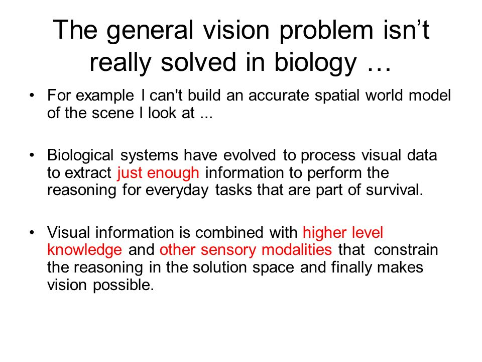 The general vision problem isn't really solved in biology …