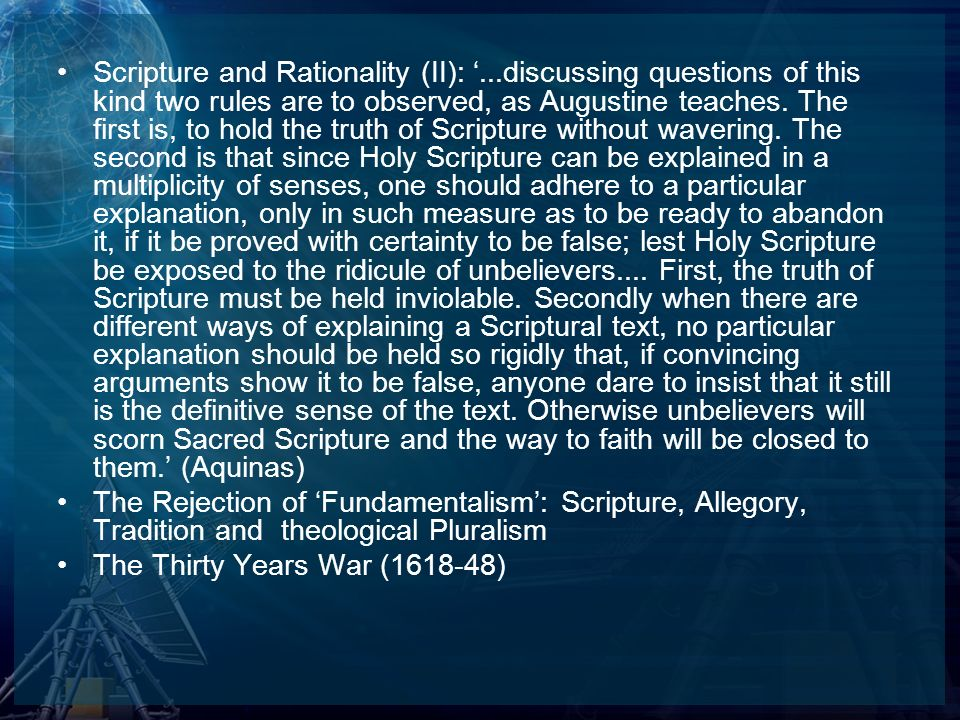 Scripture and Rationality (II): '