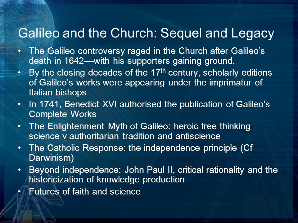 Galileo and the Church: Sequel and Legacy
