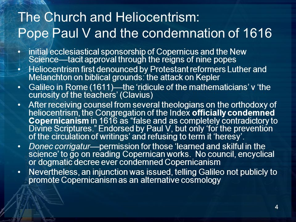 The Church and Heliocentrism: Pope Paul V and the condemnation of 1616