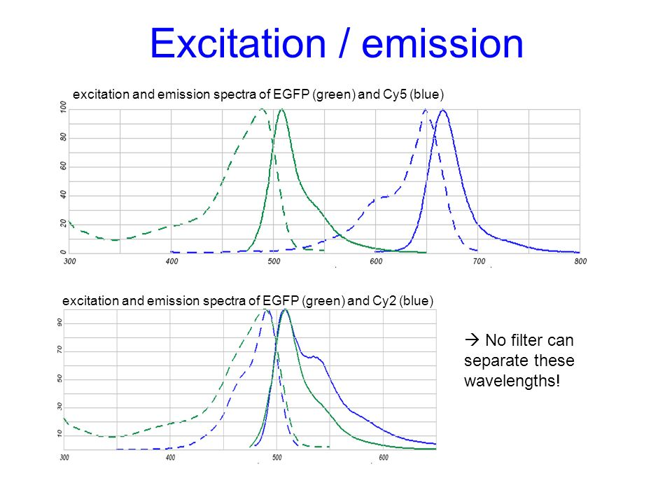 Excitation / emission  No filter can separate these wavelengths!