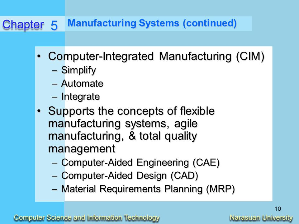 the description of computer integrated manufacturing and its application Digital manufacturing and flexible assembly technologies for reconfigurable aerospace production systems.