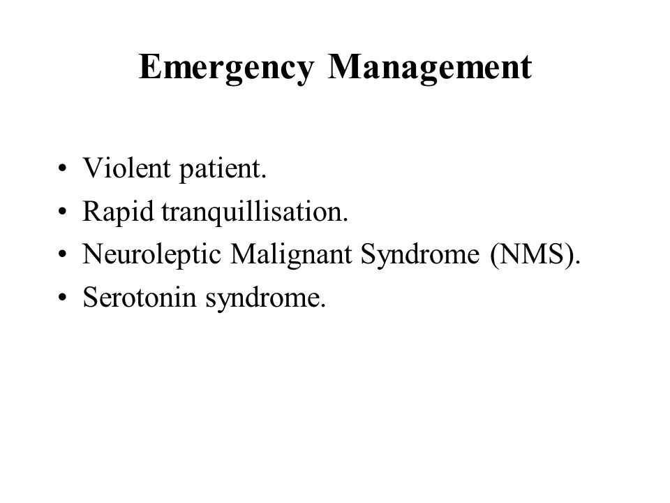 Emergency Management Violent patient. Rapid tranquillisation.