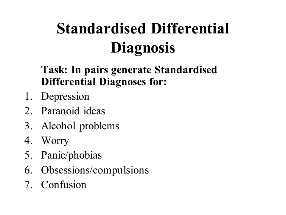Standardised Differential Diagnosis