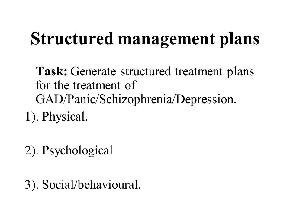 Structured management plans