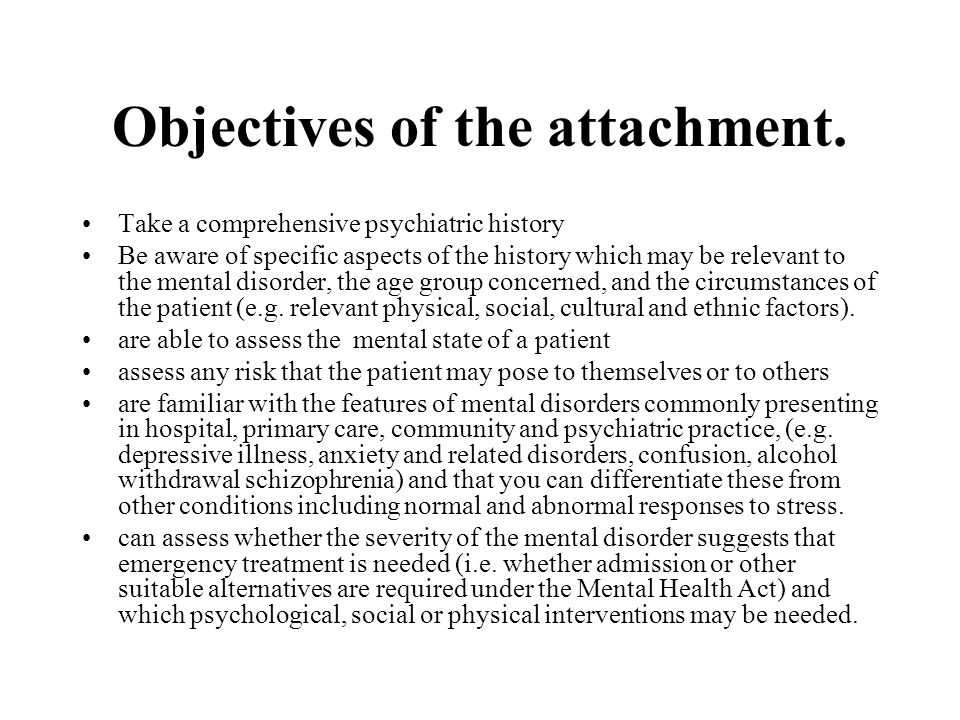 Objectives of the attachment.