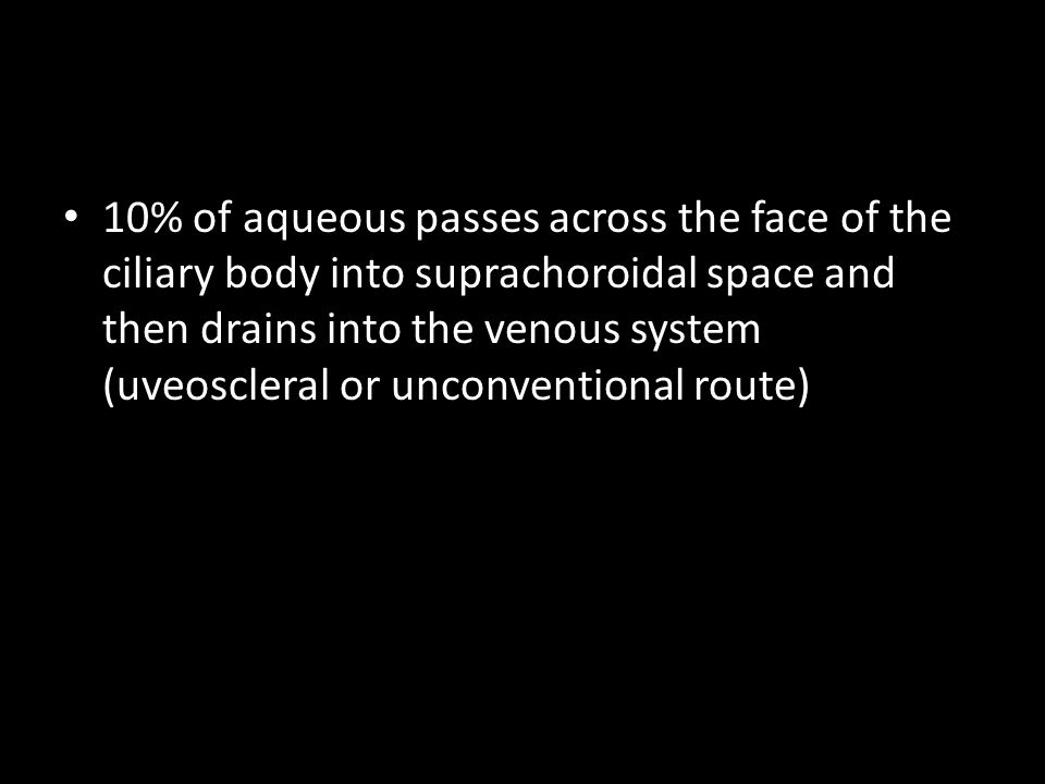 10% of aqueous passes across the face of the ciliary body into suprachoroidal space and then drains into the venous system (uveoscleral or unconventional route)