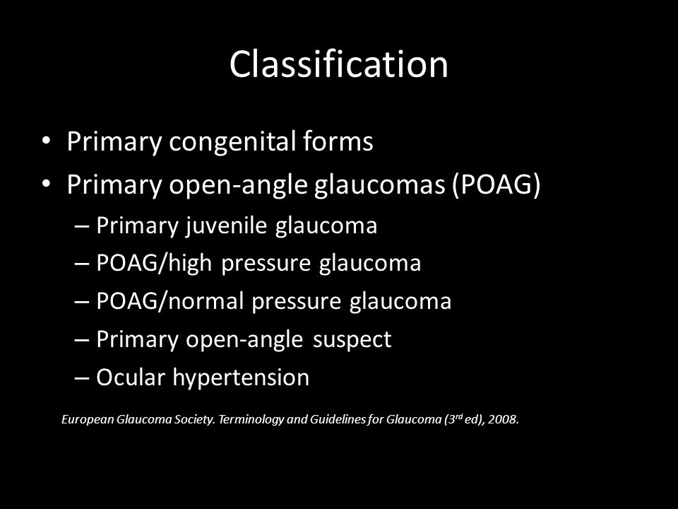 Classification Primary congenital forms