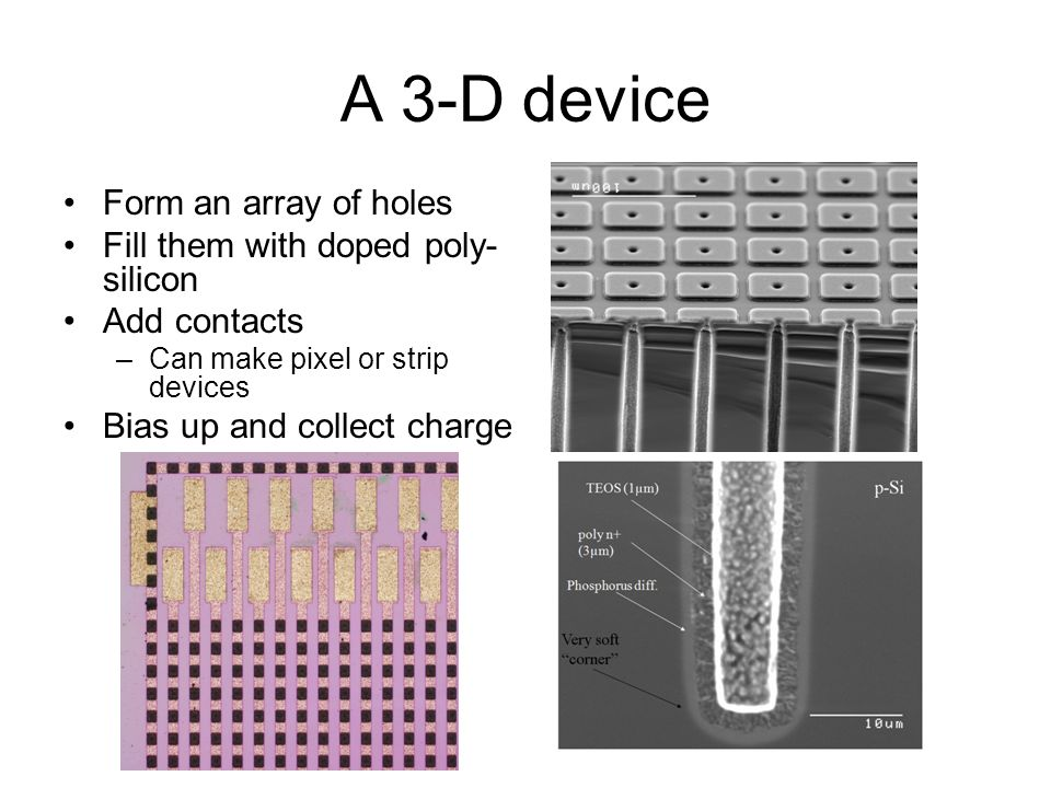 A 3-D device Form an array of holes Fill them with doped poly-silicon