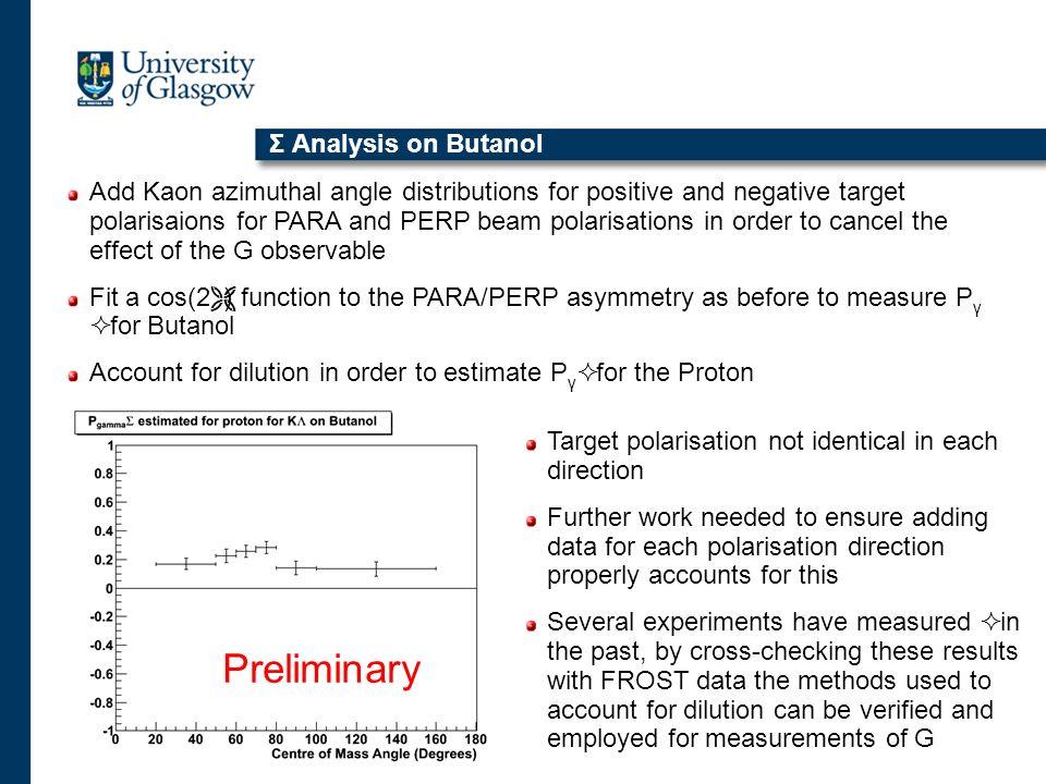 Preliminary Σ Analysis on Butanol