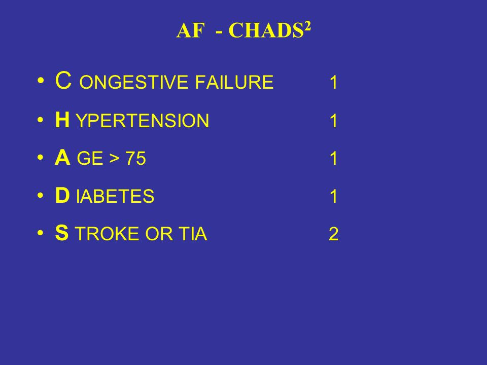 C ONGESTIVE FAILURE 1 AF - CHADS2 H YPERTENSION 1 A GE > 75 1
