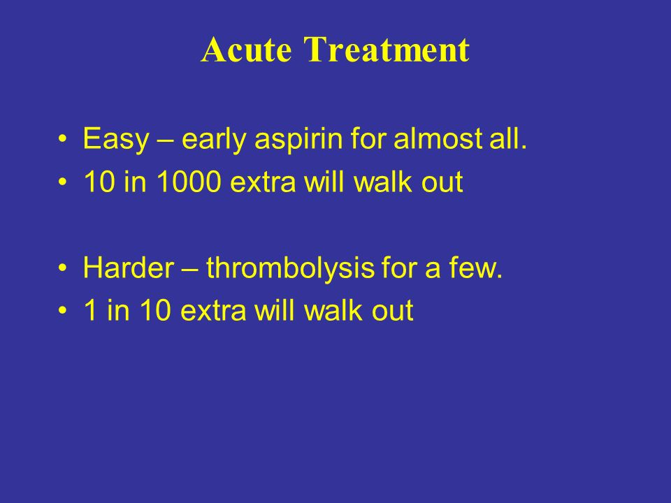 Acute Treatment Easy – early aspirin for almost all.