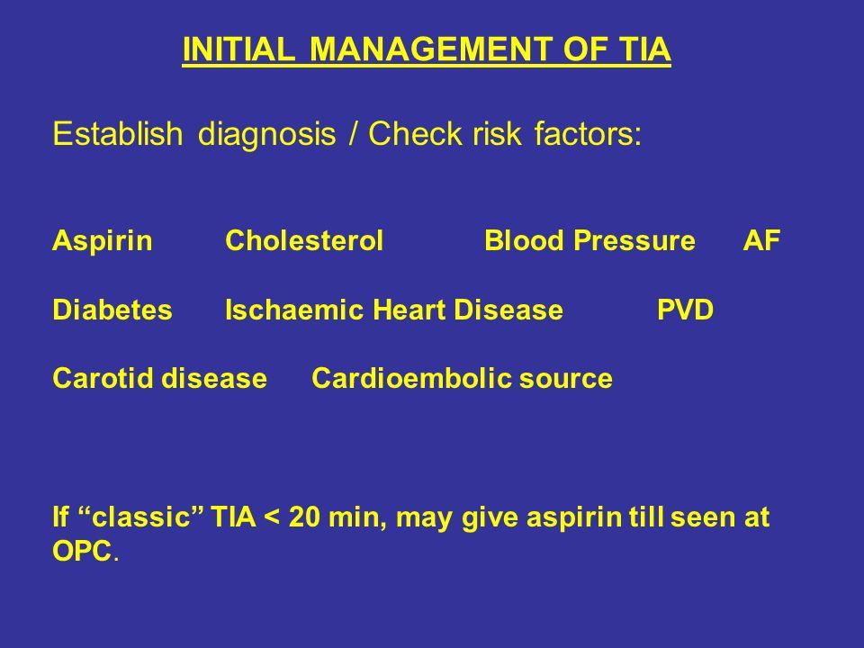 INITIAL MANAGEMENT OF TIA