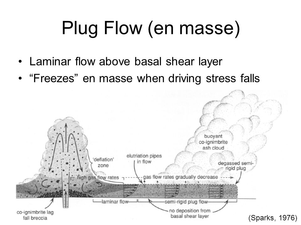 Plug Flow (en masse) Laminar flow above basal shear layer