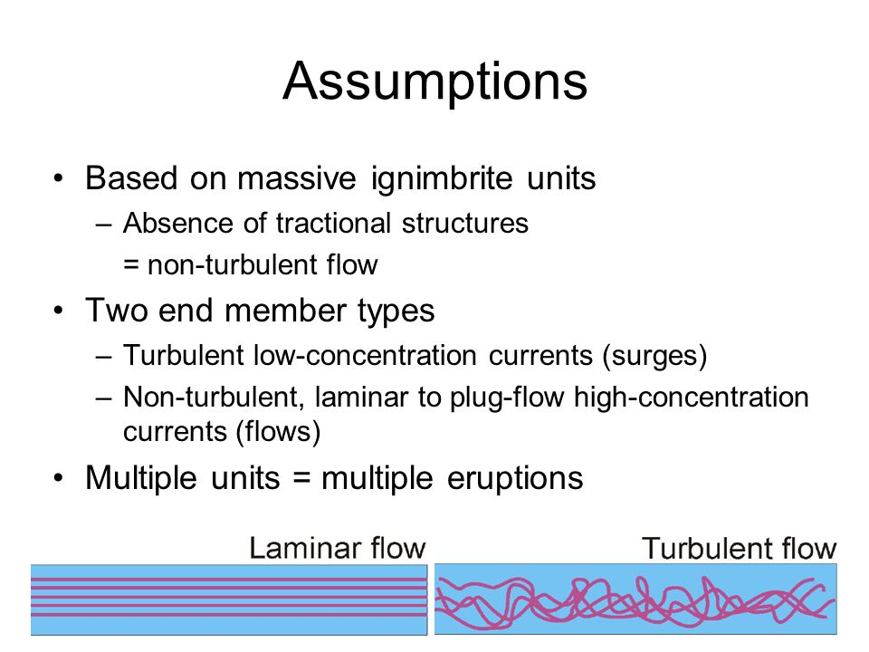 Assumptions Based on massive ignimbrite units Two end member types