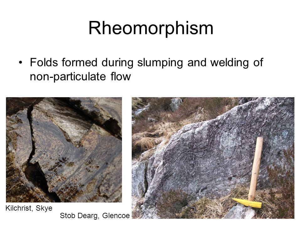 Rheomorphism Folds formed during slumping and welding of non-particulate flow.