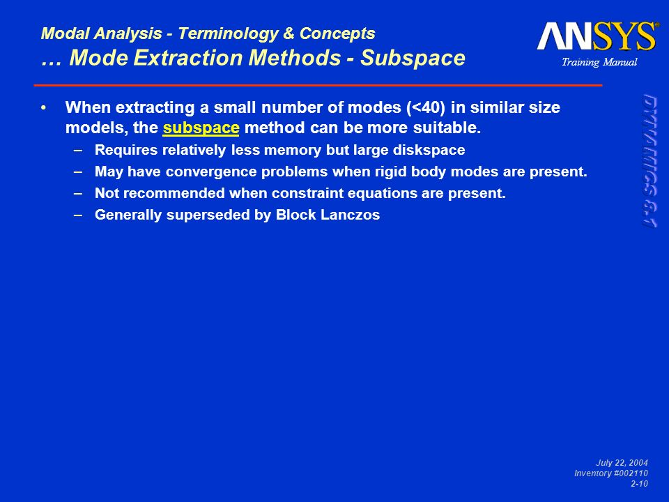 Modal Analysis - Terminology & Concepts … Mode Extraction Methods - Subspace